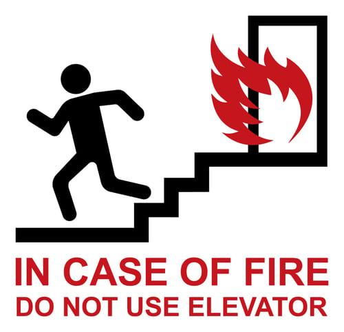 Elevator fire sign