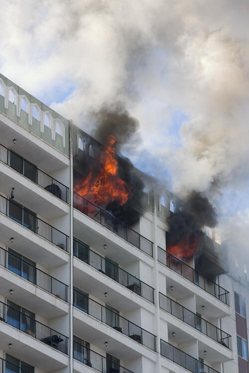High rise building fire