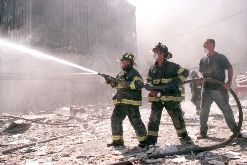 New York City firefighters during 9/11 at Ground Zero