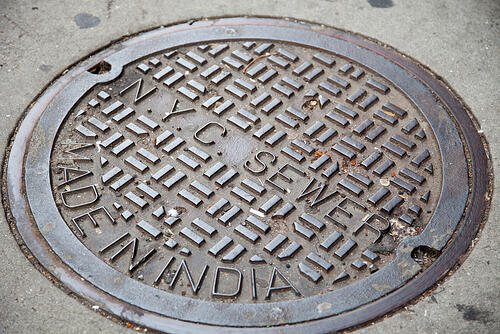 New York City manhole cover - new sewer service