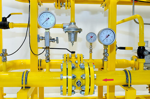 Pressure meters on natural gas pipeline for new gas service