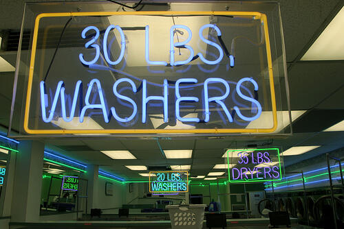 Neon sign for commercial laundry