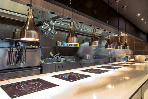 Commercial kitchen design for cooking and lighting