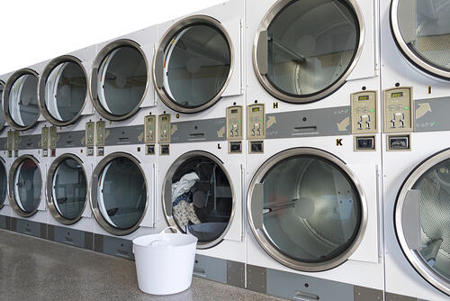 Tumble dryer machines in commercial laundry