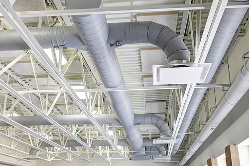 Plumbing, vents and HVAC ductwork for commercial laundries