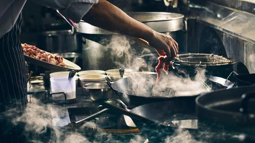 Cooking in a commercial kitchen