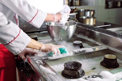 Commercial kitchen cleaning and washing