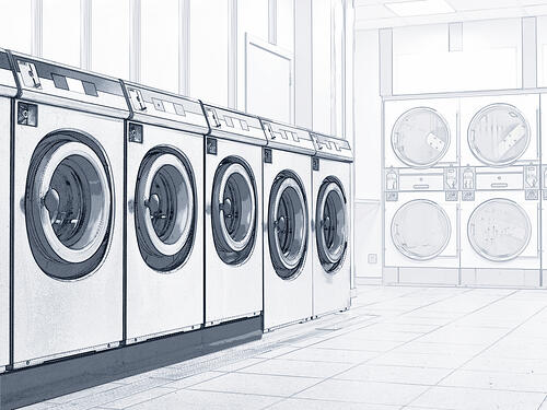 Sketch of washing machine layout in commercial laundry design