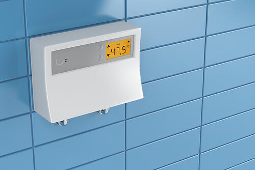 Tankless hot water heater in bathroom