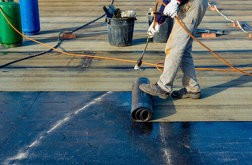 Waterproofing for a blue roof design