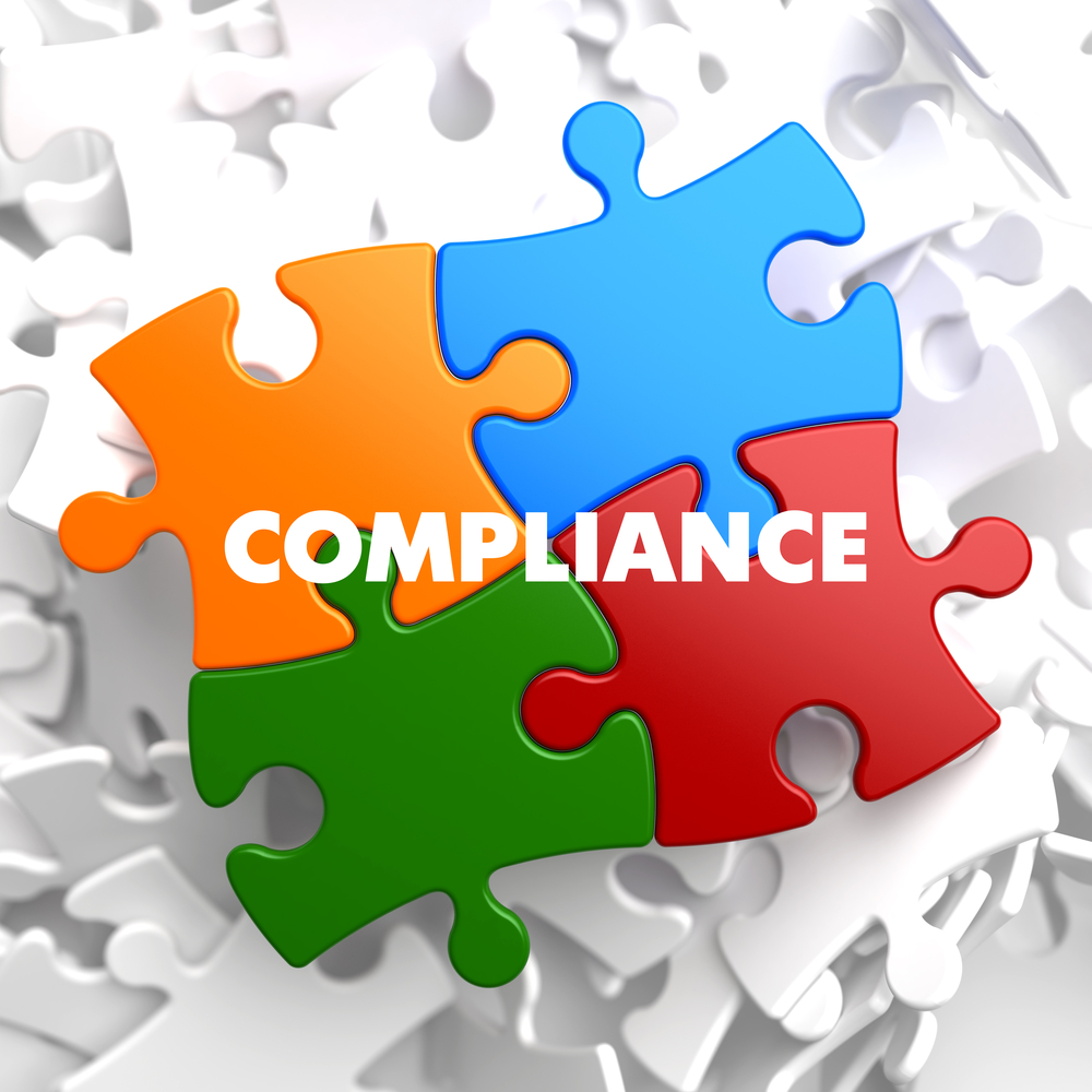 Compliance on Multicolor Puzzle on White Background.