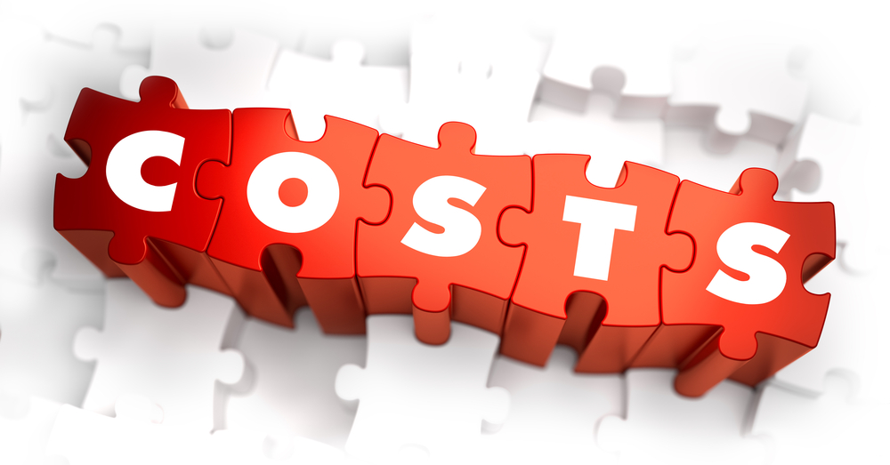 Costs- White Word on Red Puzzles on White Background. 3D Illustration.