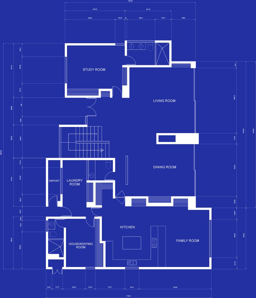 Illustration of a house blueprints - architecture concepts