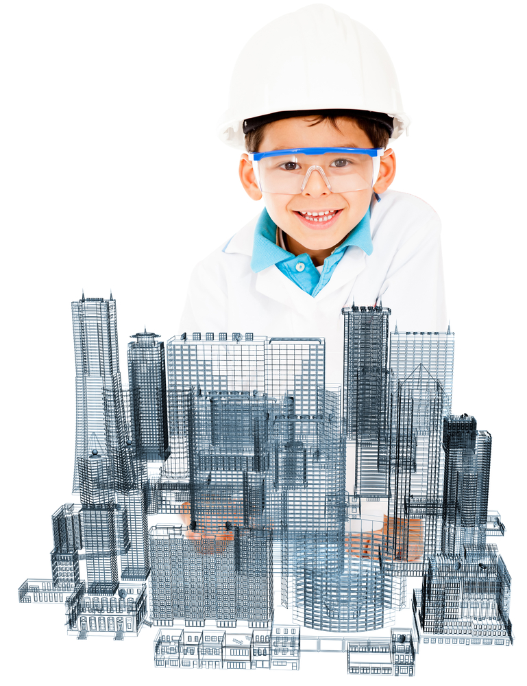 Young male architect designing a modern city - isolated over white