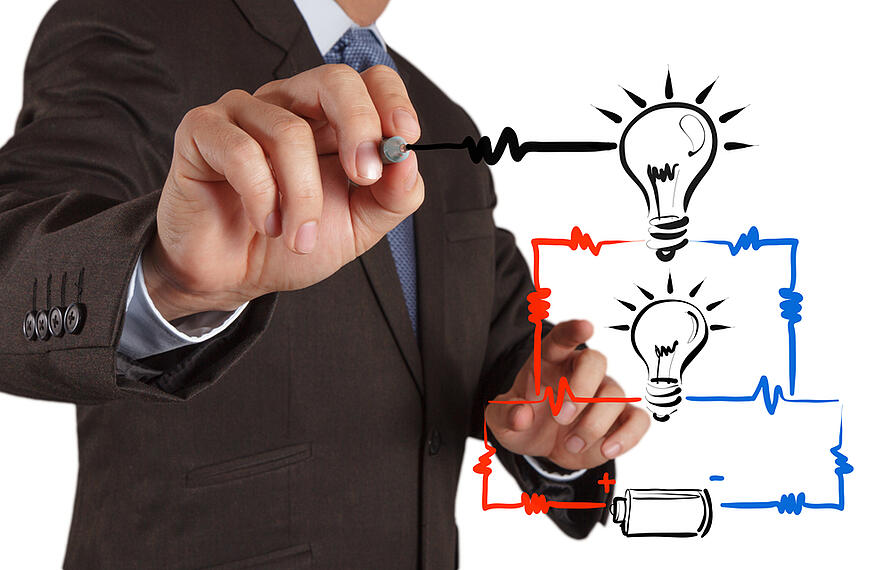 businessman hand draws electrical diagram - series and parallel connection concept-1