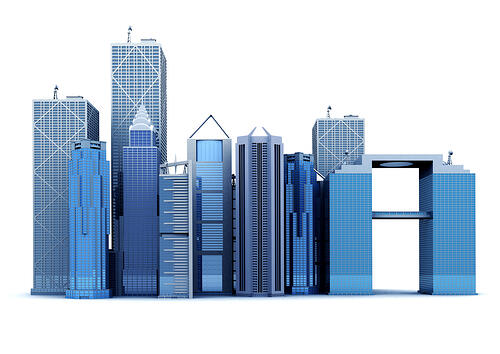 corporate buildings made in 3d over a white background