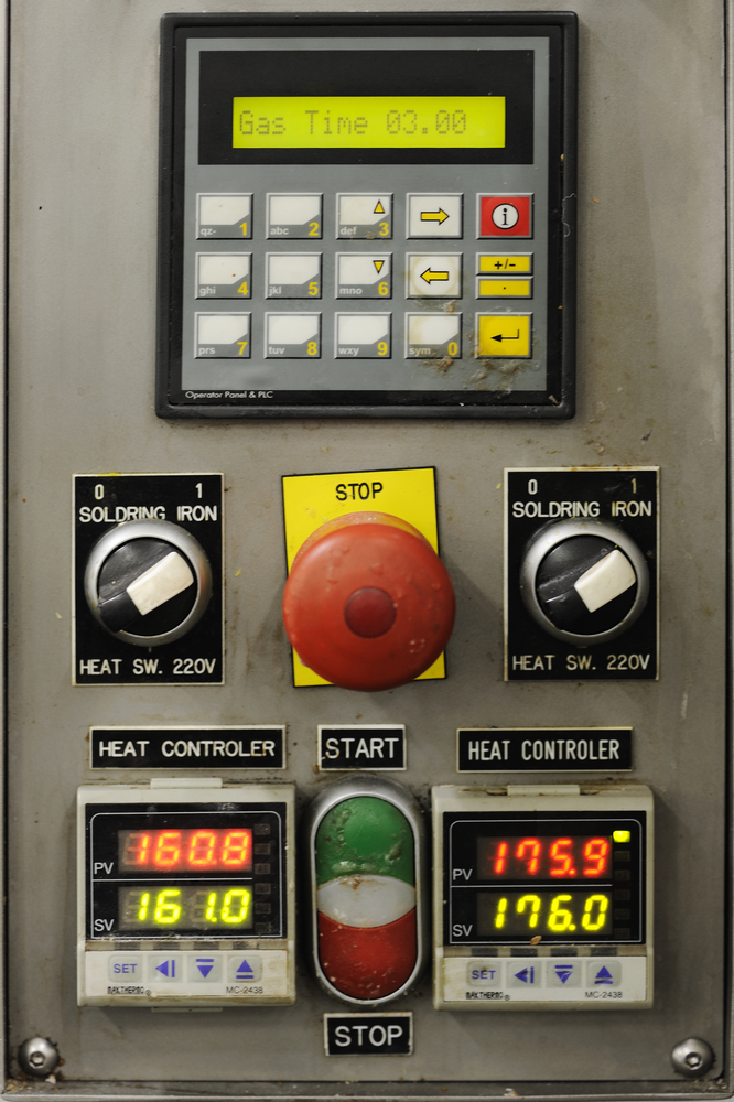 device with a buttons and display, factory monitoring-2